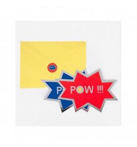 Lot 8 invitations Super héros