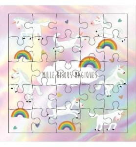 Carte puzzle mille bisous...