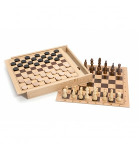 Coffret d'échecs et de dames